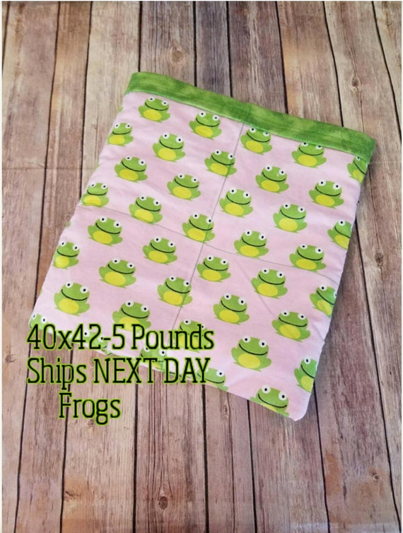 Bubble Gum Frog, 5 Pound, WEIGHTED BLANKET, Ready to ship, 5 pounds, 40x42 for Autism, Sensory, ADHD,