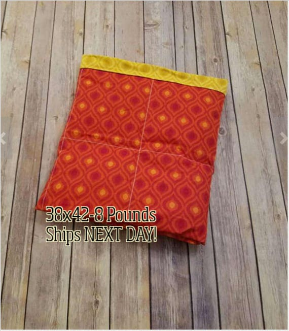 Red Yellow Moroccan, 8 pound, WEIGHTED BLANKET, Ready To Ship, 8 pounds, 38x42 for Autism, Sensory