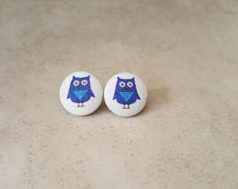 Owl Stud Earrings - Owl Earrings - Bird Earrings - Bird Studs - Blue Bird Studs - Nature Studs - Cover Button Earrings - Fabric Stud Earring