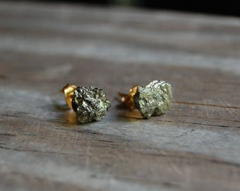 Raw Pyrite Stud Earrings on Gold Plated Posts