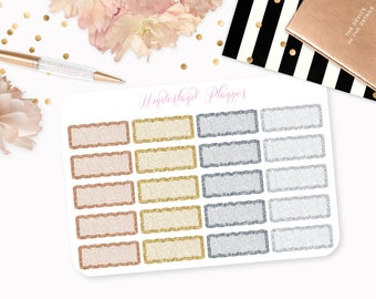 Metal Glitter Scallop Quarter Boxes Functional Planner Stickers // Quarter Box Designs // Perfect for Erin Condren Vertical Life Planner
