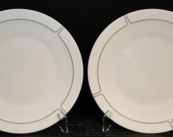 """TWO Franciscan Silver Lining Dinner Plates 10 1-2"""" Set of 2 EXCELLENT!"""