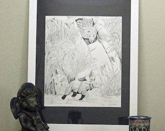 Original painting, Pen & Ink on paper, Wildlife, Rhino, Leopard, Hunting, Home decor, Wall hanging, Outdoors, Black color