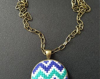 Hand Stitched Cross Stitch Jewelry - Blue Turquoise Chevron Embroidery Necklace - Unique Necklace - Gift for her - Girlfriend Birthday gift