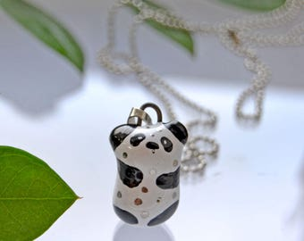 Panda Lover Gift Idea, Adorable Panda Lover Necklace, Cutest Tiny Ceramic Animal, Panda Lover Must Have
