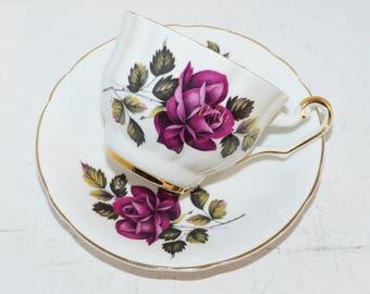Windsor Teacup and Saucer Set Signed Burgundy Roses - 1599