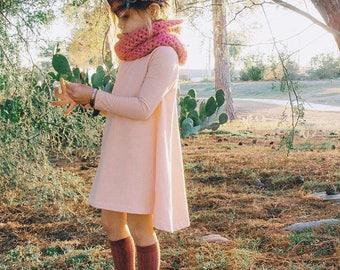 Blush Pink Long sleeve swing dress, high low dress, long sleeve dress, baby dress
