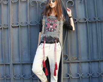 Tree of Life Long Tunic (Grey)/Vest/ Valentine's Day/Birthday/Gift for Mom/ Tassels/Embroidery