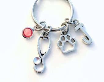 Veterinarian Key Chain, Gift for Vet Assistant Nurse KeyChain Nursing Keyring Initial Birthstone Birthday animal present Stethoscope paw her