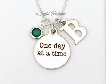 AA Necklace, One Day at a Time Jewelry, Gift for Sponsor present, Alcoholics Anonymous Recovering Addicts Charm Pendant Birthstone Initial