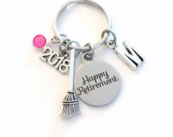 Retirement Gift for Cleaner, 2018 School Janitor Key Chain Maintenance Worker Keyring him her men women present Retire charm custodian Man