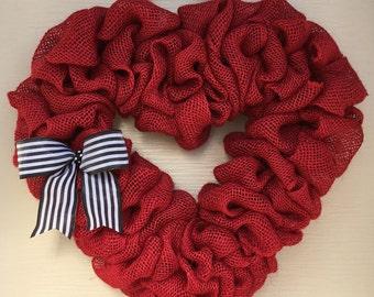 Valentine wreath,Valentine burlap wreath,Valentine burlap heart wreath,Burlap heart wreath,Heart wreath,Farmhouse Valentine wreath