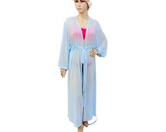 Long sleeve chiffon kimono Kaftan dress in powder blue ,sheer woman robe light blue ,elegant beach cover up,women's beach kaftan dress