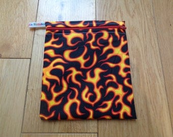 Snack Bag - Bikini Bag - Lunch Bag Tool Bag - Zero Waste Medium Poppins Waterproof Lined Zip Pouch - Sandwich bag - Eco - Flames Teenager