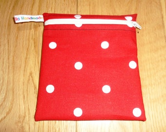 Sandwich Baggie Waterproof Lined Zip Pouch - Sandwich bag - Snack Bag - Bikini Bag Lunch Bag Make Up Bag Red White Polka dot Small  Poppins