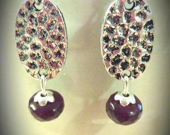 Burgundy silver earrings