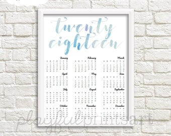 Twenty Eighteen Watercolor Year At A Glance Calendar, 8x10, Instant Download, Printable, SALE!