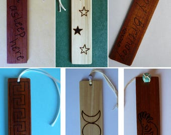 Handcrafted Wooden Bookmark with Woodburning Custom Personalized for Gifts Birthday Graduation Christmas etc Wood Bookmarker Woodburned