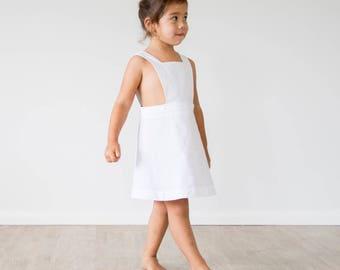 Sailor Pinafore Dress White, Girls Dress, Summer Dress, Pinafore Dress, Cotton Dress