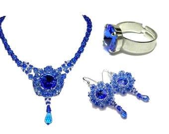 Designer embroidered set Crystal Swarovski sapphire blue necklace earrings ring
