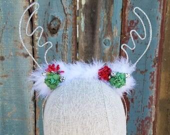 REINDEER ANTLER HEADBAND - Silver Glitter Christmas Reindeer Antlers, Holiday Ears Headband, Red & Green Reindeer Headband, Jingle Bells