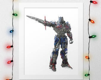 OPTIMUS PRIME, Transformers Optimus, Optimus Prime Print, Transformers, Robots Nursery, Transformers Watercolor, Movie Poster, Digital Print