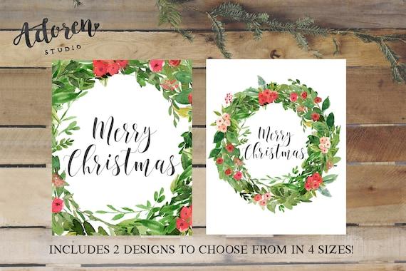 Merry Christmas Printable Art Print, Christmas Wall Art Decor Decorations Christmas Holiday Printables Print Prints Decor Decorations Wreath