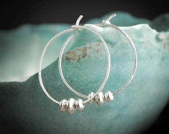 Silver Hammered Hoop Earrings, Hammered Silver Hoops, Sterling Silver Hoop Earrings Hoops Silver,Hammered Silver Earrings, Sterling Hoops