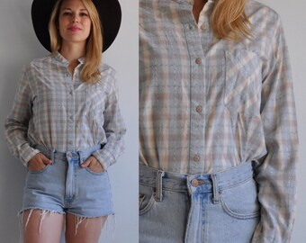 70s 80s Calvin Klein Button Front Western Collarless Shirt // Plaid // Medium
