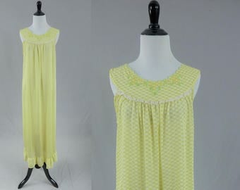 70s Nylon Nightgown - Green Yellow Check - Embroidery - Lace Trim - Long Gown - Vintage 1970s - M L XL