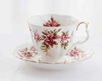 Royal Albert's Romance, TEACUP and saucer, crispy white porcelain teacup, decorated with Pink Roses, large size, c1980s