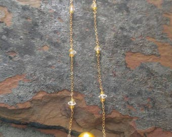 Golden South Sea Pearl Necklace with Diamonds and Sapphires