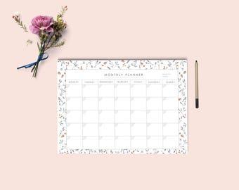 Monthly calendar printable | Desk Planner | Monthly Planner | Pdf monthly planner A4 and letter size | Instant download.