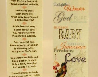 """New Father Gift """"A Father's Grace"""" Original Poetry Laminated Bookmark For Dad """"New Baby Girl"""" with Silver Baby Feet Keepsake Charm"""