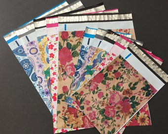 100 10x13 and 6x9 Designer Poly Mailer Assortment Flowers Paisley Blue Pink Purple Roses Envelopes Shipping Bags