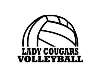 Cougars High School College Volleyball SVG File Cutting, DXF, EPS design, cutting files for Silhouette Studio and Cricut Design space