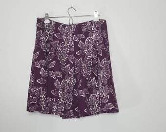 LINEN Cotton PLEATED SKIRT / Purple Floral skirt /