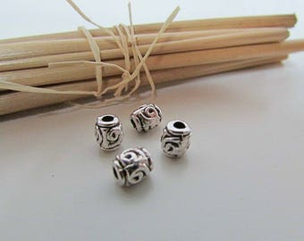 10 Pearl tube 6 x 5 mm silver plated - 2 mm hole - 630