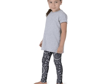 Kids Yoga Leggings, Cute Black and White Leggings for Girls, Children's Printed Yoga Pants