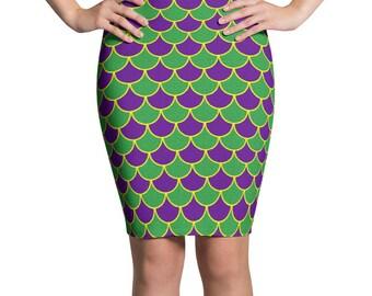 Mardi Gras Skirt Women, Mardi Gras Costumes, Purple and Green Mermaid Scales Pencil Skirt, Stretchy Knee Length