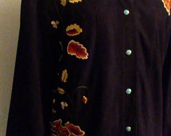 Vintage Suede Embroidered Cowboy Shirt