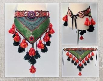 ATS Belt Hip Scarf, Tribal Tassels Belt, Tribal Belly Dance Belt, ATS Hip Scarf, Hip Wrap, Tassels Hip Scarf, Hip Shawl, Hip Wrap Tassels