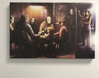 Freddy vs Jason, Chucky, Michael, Myers, Scream, Poker game, Texas chainsaw massacre, Canvas Art, Gift for him