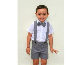 3pcs. Christening Outfit-Charcoal,Suspender Shorts,Linen Shorts,Page boy,Ring Bearer,Baptism outfit,christening outfit,Boy Wedding suit