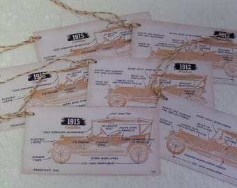 ANTIQUE CAR TAGS • Handmade Tags • Printed Gift Tag • String Tag • Car Gift Tags • Guy Gift Tags• Guy Tags •The Whiskered Kitten