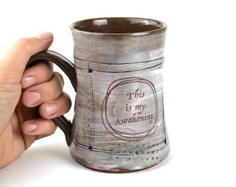Large tea cup coffee mug handmade ceramic mug awakening