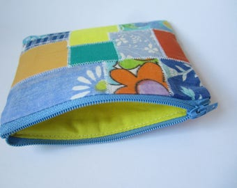 Patchwork purse, rainbow purse, zipped purse, boho gift, eco gift, gift for her, upcycled fabric purse, floral pouch, small zip case, bright