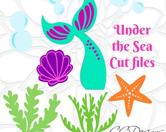 Mermaid Tail Under the Sea SVG Cut File Set, Mermaid Tail Silhouette, Seaweed, Starfish & Bubbles, SVGs for Cricut and Silhouette