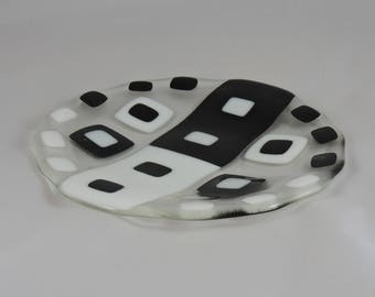 Black and White Fused Glass Dish