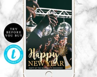 Happy new year snapchat geofilter New year filter NYE filter New year geofilter New years eve filter Editable geofilter Custom geofilter DIY
